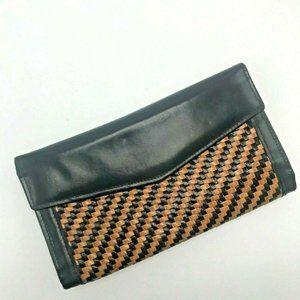 Vintage Bosca Women's Wallet Woven Leather Black